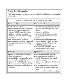 self care plan template care plan templates 10 free word pdf format
