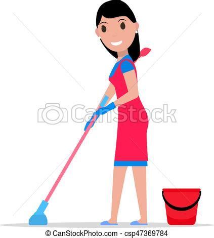 lavare pavimenti pulire pavimento secchio vettore pavimenti ragazza