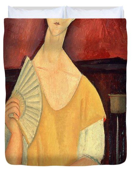modigliani with a fan with a fan painting by amedeo modigliani