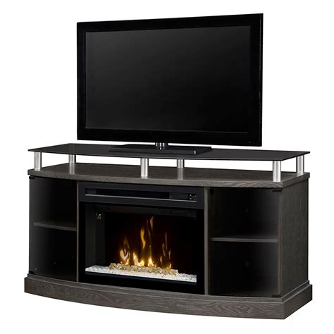 electric fireplace media console windham silver charcoal electric fireplace media console