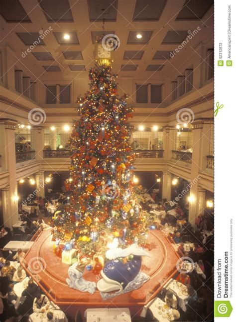 christmas tree in marshall fields department store chicago illinois editorial stock photo