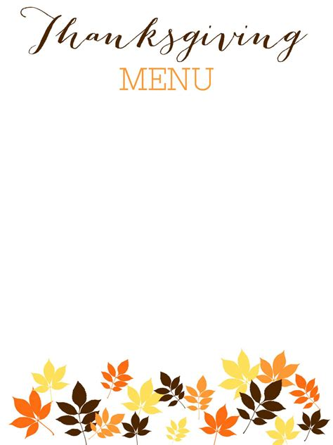 Free Thanksgiving Templates 31 Gift Tags Cards Crafts More Hgtv Menu Template For Thanksgiving