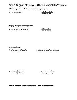 worksheet on trigonometric identities trig identities and proofs worksheet by query tpt