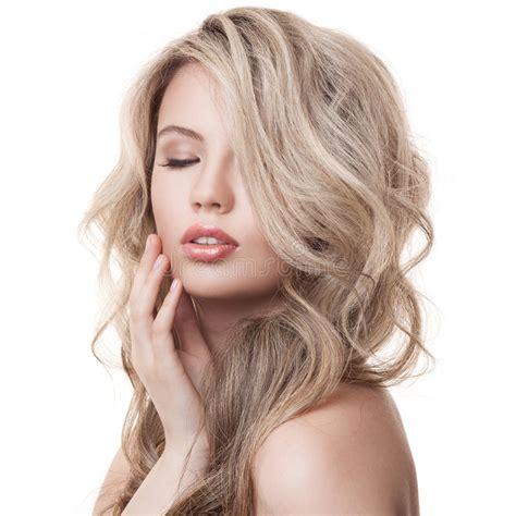 beautiful blonde girl healthy long curly hair stock