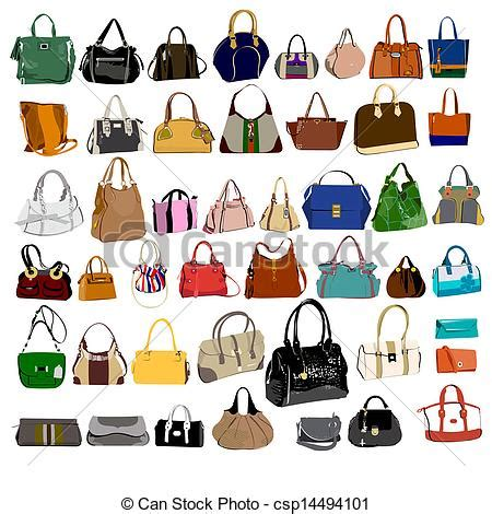 Lv Bordir Set Pouch vector clipart of set of purses and bags set of purses