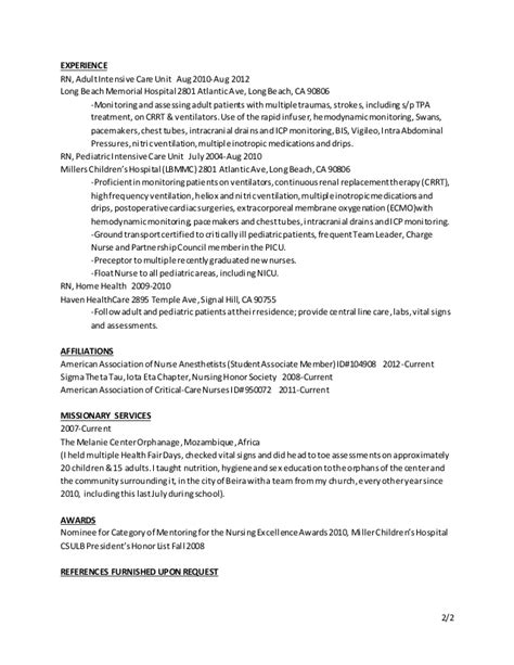 Resume For Anesthetist Crna Resume March 15