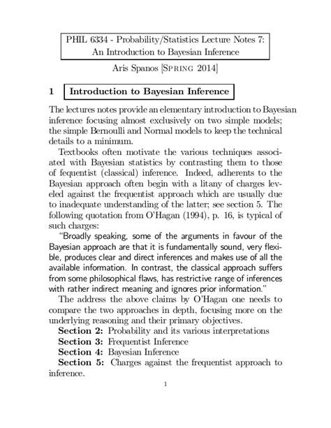 Spanos lecture 7: An Introduction to Bayesian Inference