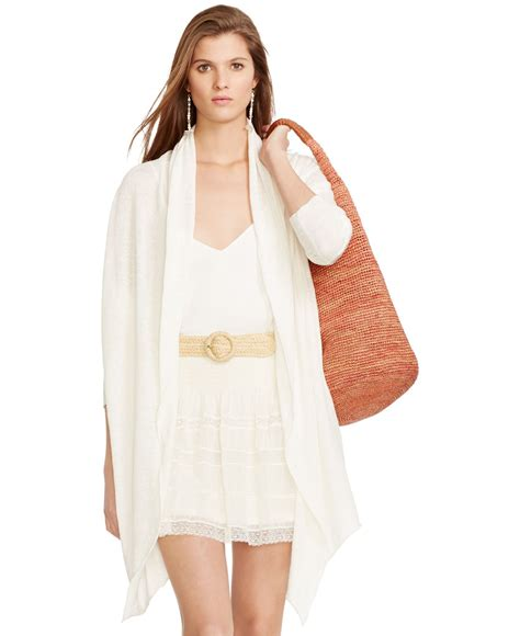 Open Front Draped Cardigan polo ralph draped open front cardigan in beige
