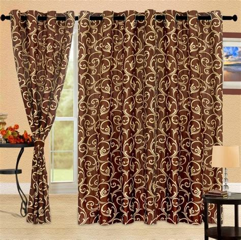 brown floral curtains cortina polyester brown floral eyelet long door curtain