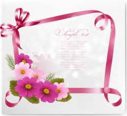ribbon with flower greeting card vector 02 vector card vector flower vector ribbon free