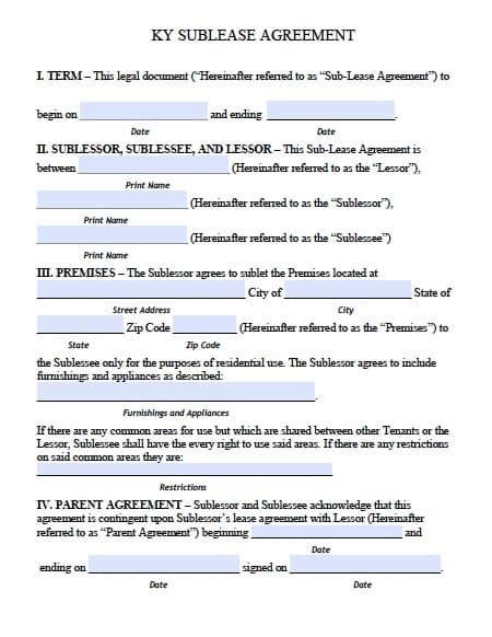 Free Kentucky Sublease Roommate Agreement Form Pdf Template Roommate Agreement Template