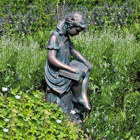 garden sculpture reading garden statue bronze effect sculpture