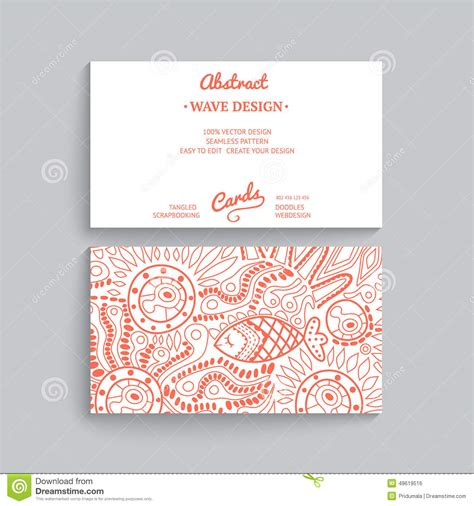 business card template wavy design vector simple business card template with decorative