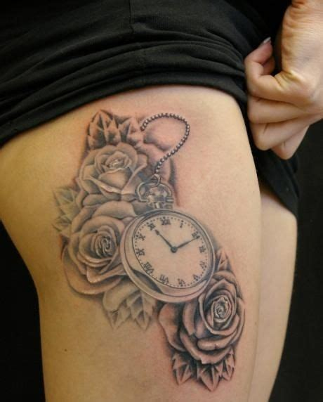 small clock tattoo grey ink roses and clock tattoos on thigh tatuaże