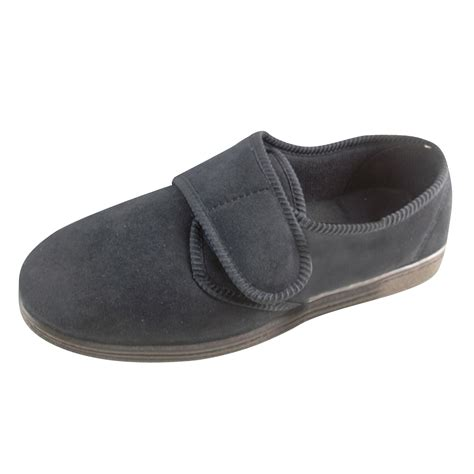 wide mens slippers new mens classic velcro luxury quality wide slippers size