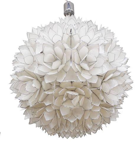 Capiz Lotus Chandelier Large Capiz Shell Pendant Light Lotus 1960s For Sale At 1stdibs