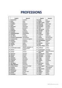 professions english spanish list worksheet free esl