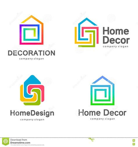 home decor logos vector logo design home decor decoration stock vector