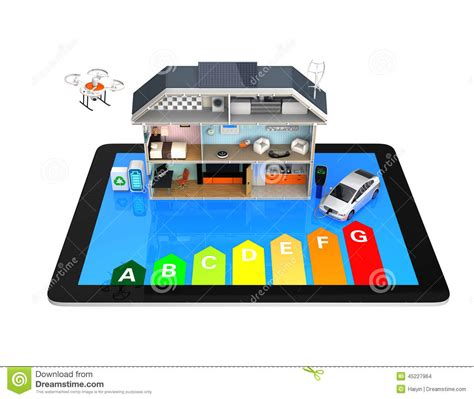 Smart House With Energy Efficient Appliances. Stock Photo