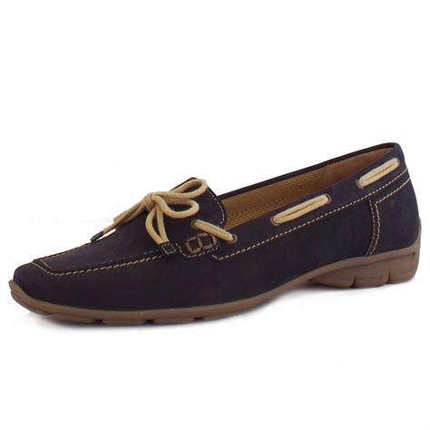 womens blue loafers gabor flat shoes obern womens loafer shoes in blue