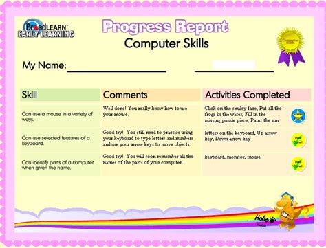 test progress report template computer skills