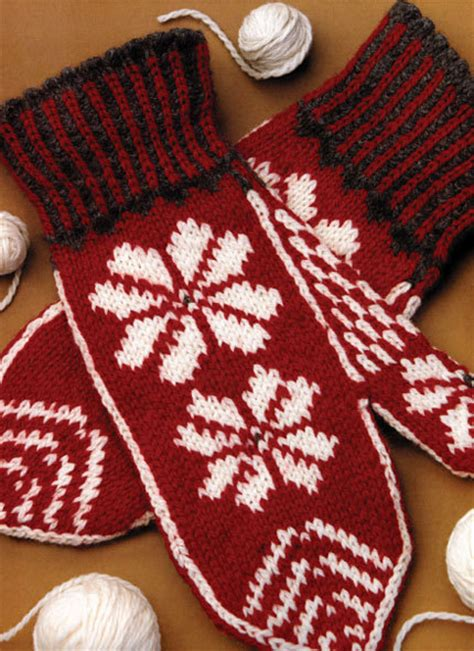 snowflake pattern knitted mittens free christmas knitting patterns october 2012