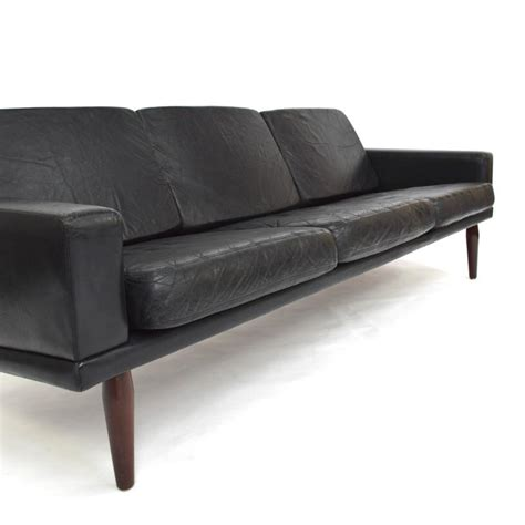 scandinavian leather sofa scandinavian black leather and rosewood three seat sofa by