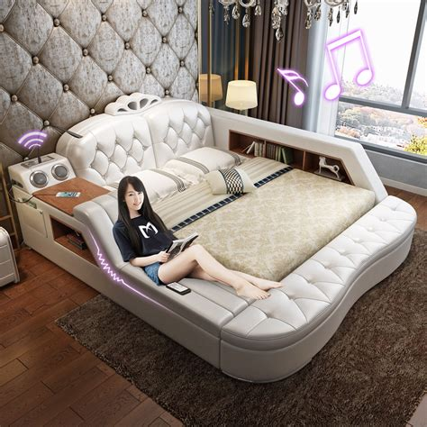 usd 710 00 bed leather leather leather bed tatami bed bed 1 8 meters storage