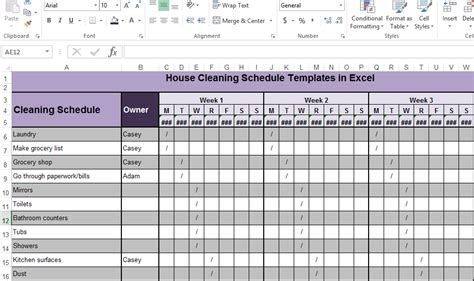 house cleaning schedule templates in excel exceltemple