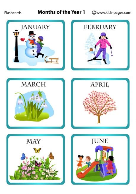 months of the year 1 flashcard