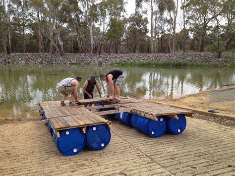 portable pontoon diy portable pontoon using old pallets and old blue drums