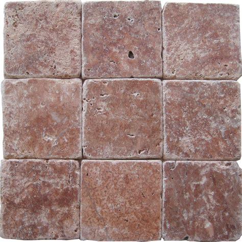 Rose Travertine Tumbled Tiles: E4 4100 in South Florida
