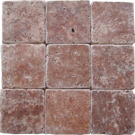 Rose Travertine Tumbled Tiles: E4 4100 in South Florida