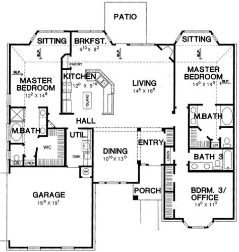 House Plans With Two Master Suites On First Floor by Double Master Bedroom House Plan 3056d 1st Floor