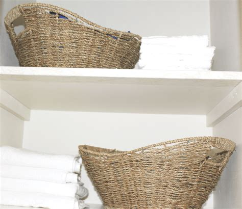 Bathroom Baskets Bathroom Closet Towels And Baskets At Home With Zan