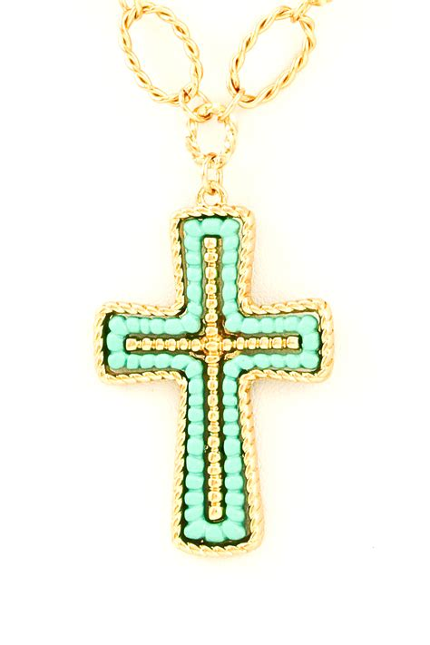 beaded cross pendant necklace set necklaces