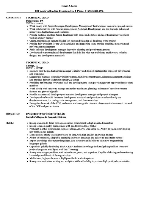 resume templates for technical lead technical lead resume sles velvet