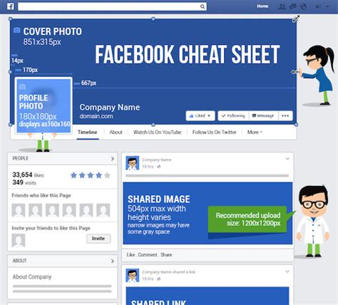 design home cheats facebook facebook cheat sheet image size and dimensions infographic