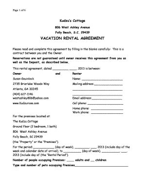 printable vacation rental agreement forms  templates