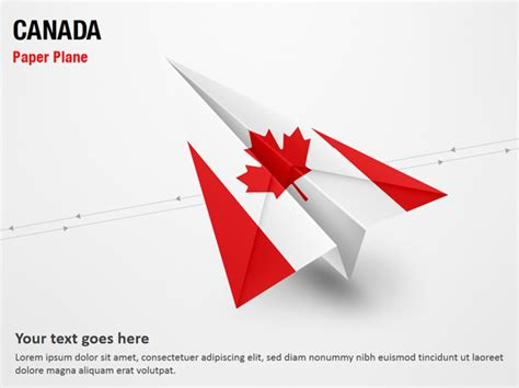 paper plane with canada flag powerpoint map slides paper