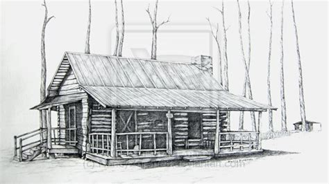 Drawings Of Log Cabins by Pencil Drawings Of Horses Log Cabin Pencil Drawing Cabin
