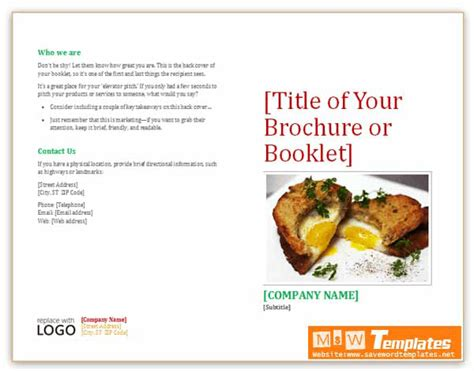 template for a booklet booklet template