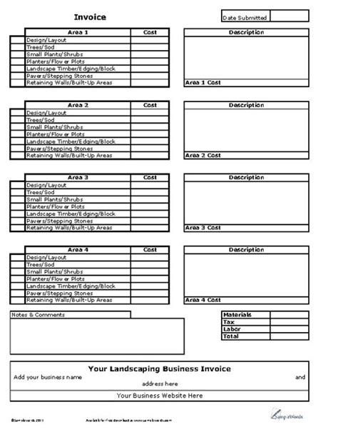 Landscaping Business Invoice Landscaping Budget Template
