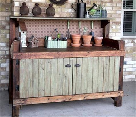 Potting Benches With Storage Recycled Pallet Wood Outdoor Kitchen Pallet Wood Projects