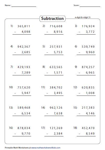 6 Digit Subtraction Worksheets