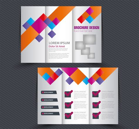 adoble illustrator template folded card brochure design with trifold colorful template