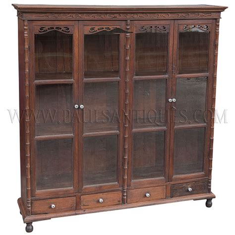 glass door cabinet with drawers antique teak display cabinet with drawers and