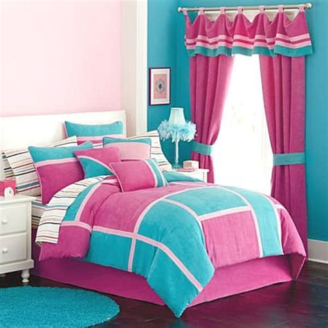 hot pink and turquoise bedroom new girls pink aqua twin comforter 9pc plush microsuede