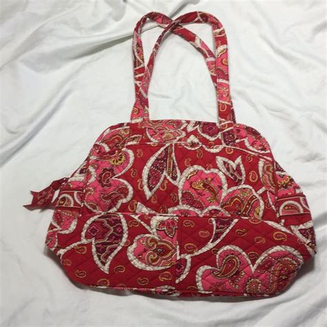 pink red pattern vera bradley red pink pattern tote bag on sale 64 off