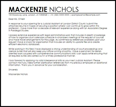 Judicial Assistant Cover Letter judicial assistant cover letter sle livecareer